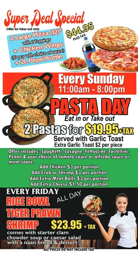 Fantastic deal $41.95: 2 pizza's, chicken wings a bottle of Pepsi